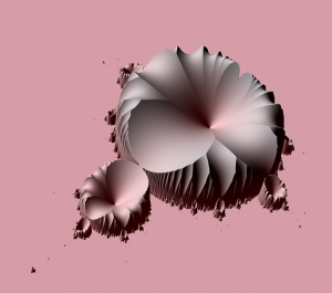 An unusual 3-D rendering of the Mandelbrot Set